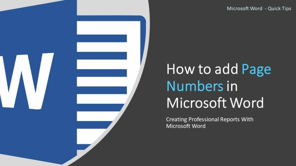 How to add Page Numbers in Microsoft Word