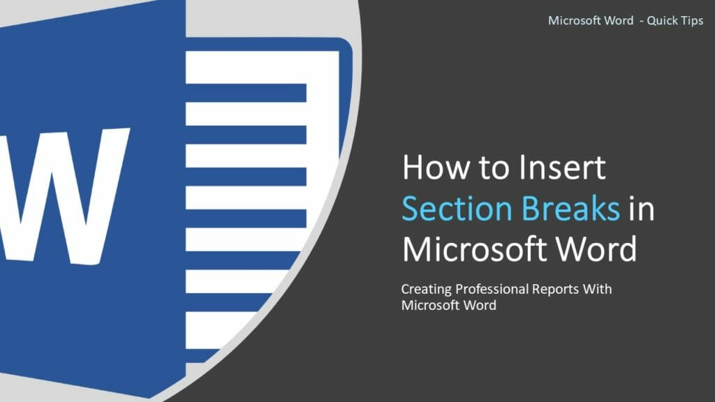 Insert section breaks in Microsoft Word